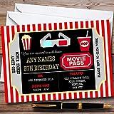 10 x Movie Cinema Ticket Personalized Childrens Birthday Party Invitations