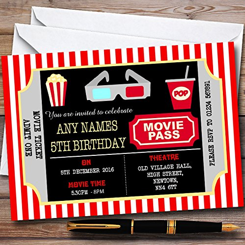 10 x Movie Cinema Ticket Personalized Childrens Birthday Party Invitations
