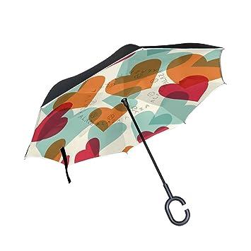 DragonSwordlinsu - Paraguas invertido de doble capa con diseño de corazones y corazones, para coche