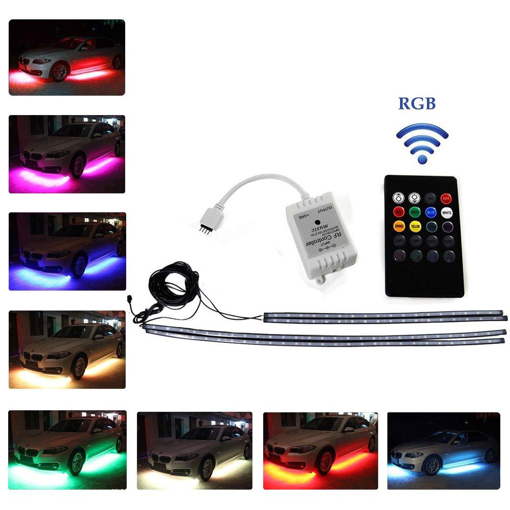 Ralbay 4pcs RGB Remote Control LED Undercar Neon Strip Light Underbody Under Car Body Light Kit, Car Chassis Atmospher Strip Light Waterproof Soft Glow Flashing Lamp For Car Decoration (90*120cm) Ralbay-2pcs- Light Stripe