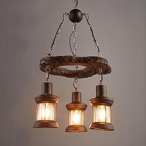 E27 retro Lámpara de Araña de madera de hierro metal 3 ...