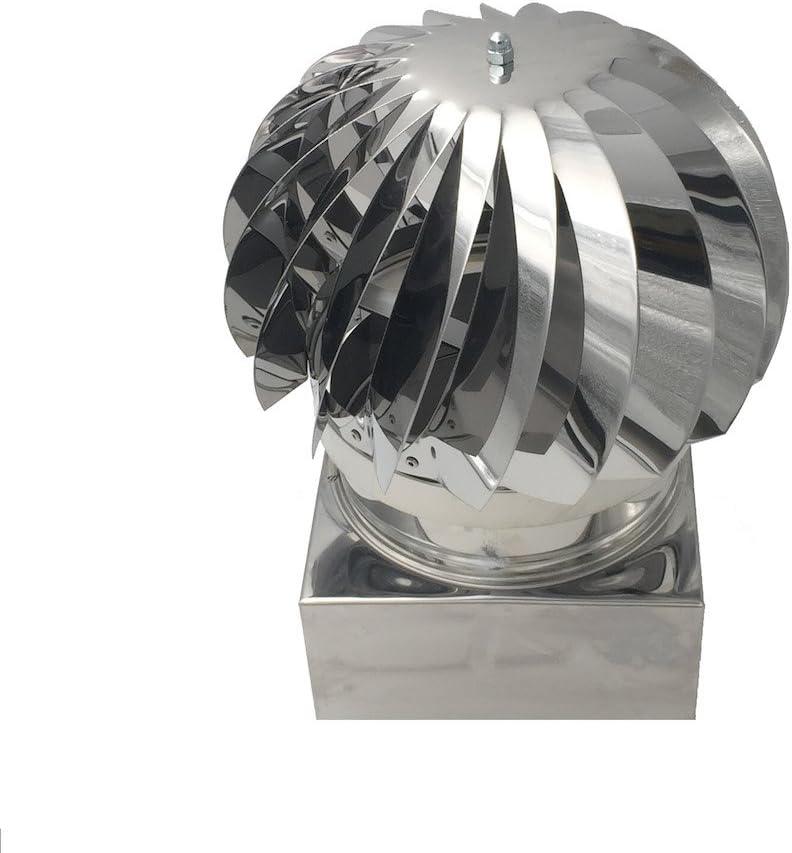 Extractor de humo pivotantes, aspirador sombrero eolico para chimeneas estufa de acero inoxidable, base cuadrada, Todas las dimensiones...