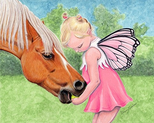 Horse Fairy Child Haflinger Palomino Monarch Butterfly 8
