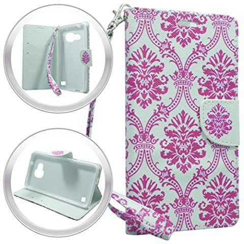 LG Optimus Zone 3 / LG Rebel 4G LTE / LG K4 VS425 case, Luckiefind PU Leather Bling Flip Wallet Credit Card Cover Case, Stylus Pen Accessories (Wallet Damask (Lg Optimus Cell Phone Holster)