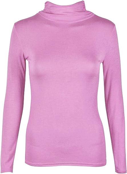 Women Ladies Short Sleeve Turtle Polo Roll Neck Plain Stretch T Shirt Top Jumper