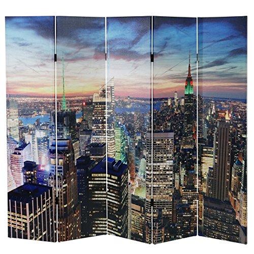 LED-Paravent Trennwand Raumteiler New York, Timer, netzbetrieben 180x200cm, 30 LEDs