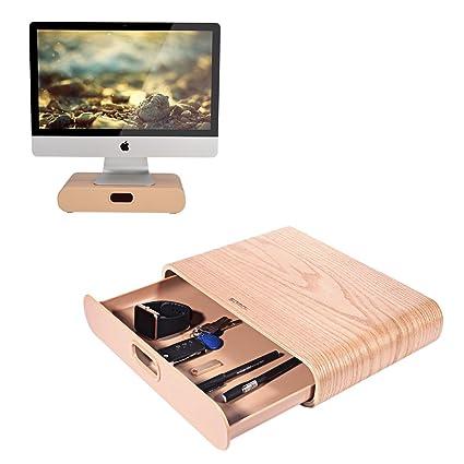 Samdi soporte de monitor del ordenador soporte con extraíble cajón organizador de escritorio de madera para