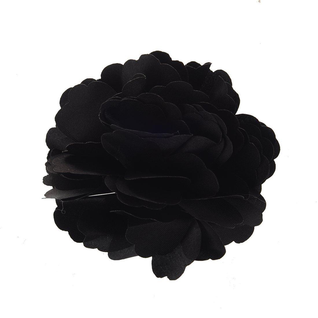 SODIAL(R) Seda pelo de la flor broche de la boda Ramillete clip de la flor 8 cm Broche Accesorios - Negro 010133C0