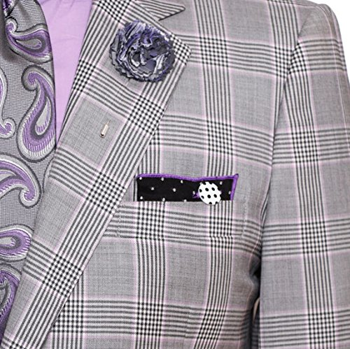 Gray and Purple Plaid Men's Lapel Flower Pin by The Detailed - Square Bellevue Shops