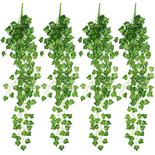RERXN 4 Bunchs Artificial Ivy Vine Greenery Fake Hanging Plant Leaves for Indoor Outdoor Decor (Ivy Leaves)