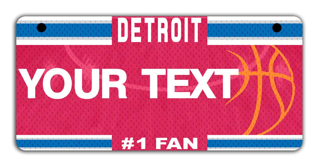 BRGiftShop Personalize Your Own Basketball Team Detroit Bicycle Bike Stroller Childrens Toy Car 3x6 License Plate Tag