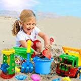 Lanlan 11 Pcs Children Summer Beach Toys Plastic Mold Hourglass Tools Bucket Set Play Sand Toy for Boys and Girls