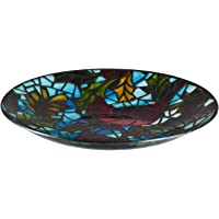 Evergreen Garden Beautiful Cardinals Art Nouveau Style Glass Bird Bath - 18 x 18 x 3 Inches Fade and Weather Resistant Indoor/Outdoor Decoration for Homes, Yards and Gardens