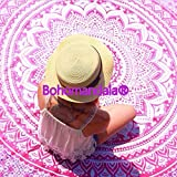 Indian Mandala Ombre Pink White Bohemian Boho Large Throw Bed Sheet Wall Hanging Tapestry (approx 210cm x 230cm(double))
