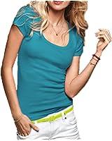 Women's Short Cap Sleeves Scoop Neck Tee T Shirt Cotton Top Plus Size