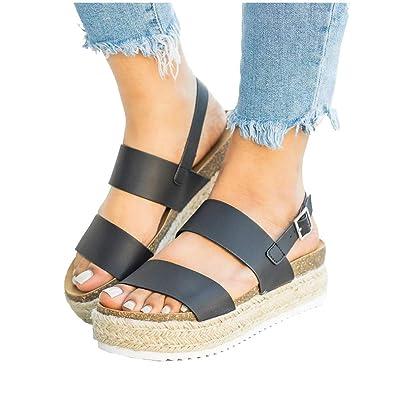XMWEALTHY Women s Shoes Casual Platform Sandals Cute Open Toe Summer Wedge  Heel Shoes Black Professional Shoes