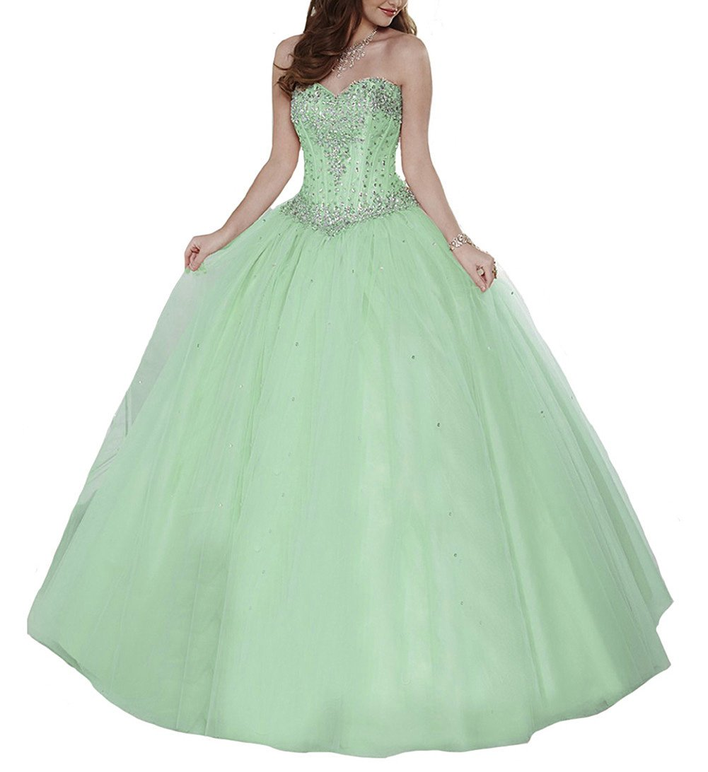 STARSY Womens Sweetheart Beading Princess Ball Gown Vestidos 15 Fiesta Quinceanera Dresses 8 US Green at Amazon Womens Clothing store: