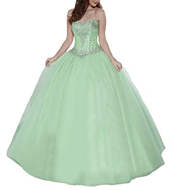 STARSY Womens Sweetheart Beading Princess Ball Gown Vestidos 15 Fiesta Quinceanera Dresses 8 US Green
