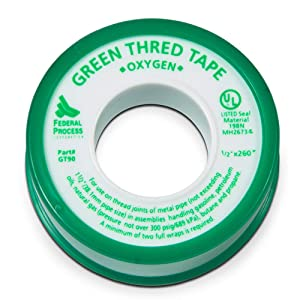 """Gasoila GT90-24 Green PTFE High Density Thread Tape Roll, -450 to 550 Degree F Performance Temperature, 3.7 mil Thick, 260"""" Length, 1/2"""" Width, For Oxygen"""