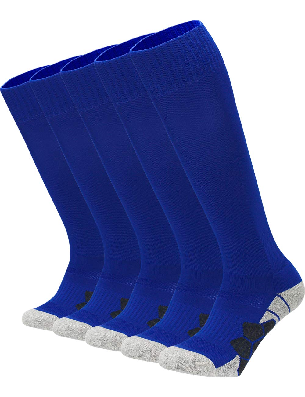 Youth Kids Adult Knee High Cotton Sports Compression Socks Boys Girls Parent-Child Outdoor Active Long Towel Bottom Socks, 5-Pair Blue, Size L (Kids 9C-13C / W 10-13 / M 8-12) by APTESOL