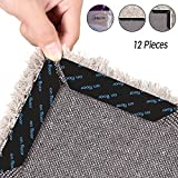 ESEYE Rug Grippers, 12 PCS Reusable Anti Curling Rug Gripper,Non Skid and Anti Slip Bottom Rug Stopper Strong Sticker,Ideal Alternate to Rug Pads Floor Surfaces for Office Kitchen Bathroom