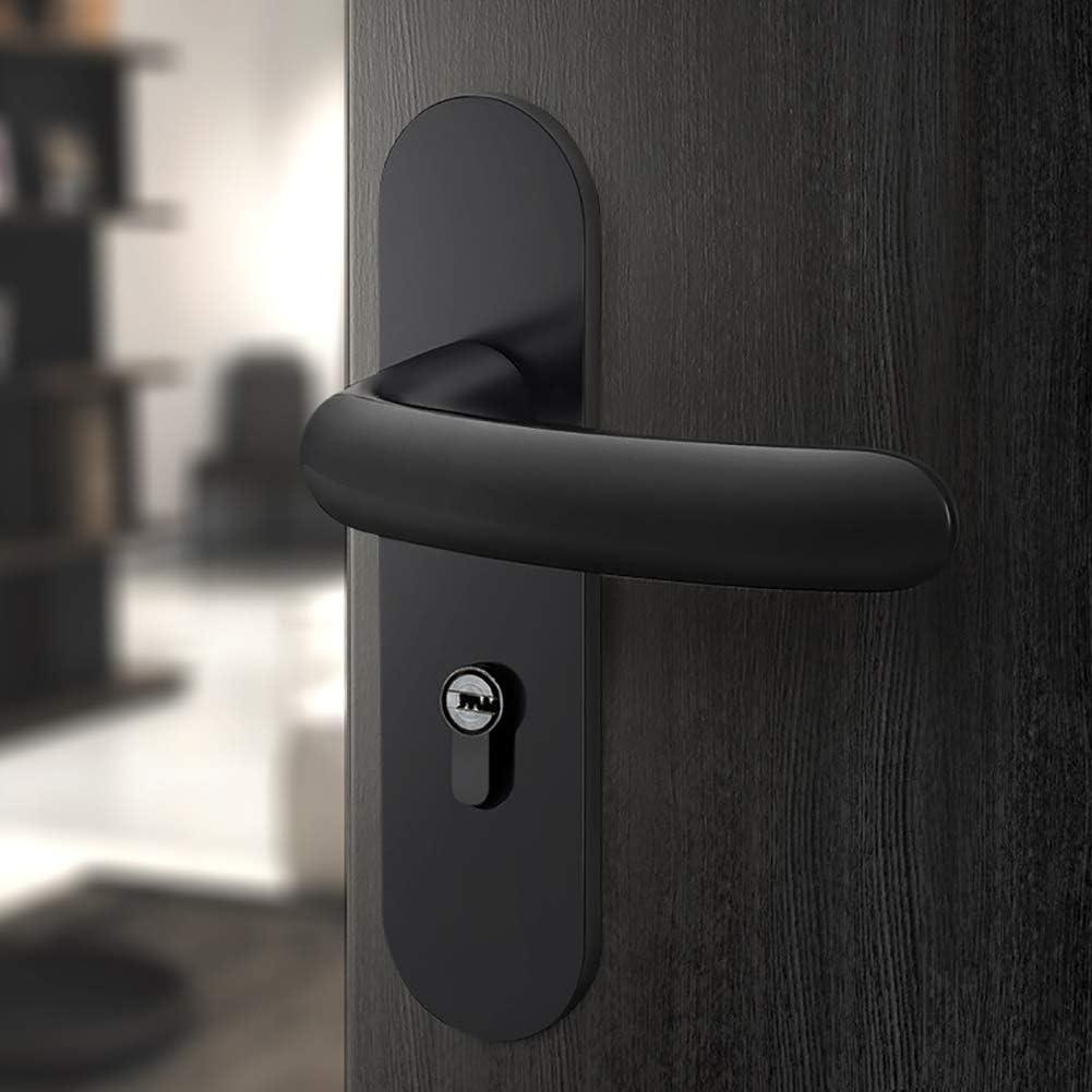 MSer Aluminio Tirador de Puerta con Llave Cerradura, Pomos para Puertas, Manilla de Puerta, Negro,B: Amazon.es: Deportes y aire libre
