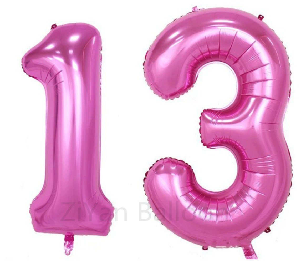 Party Balloons ZIYAN 40 Inch Giant 11th Pink Number Balloons,Birthday