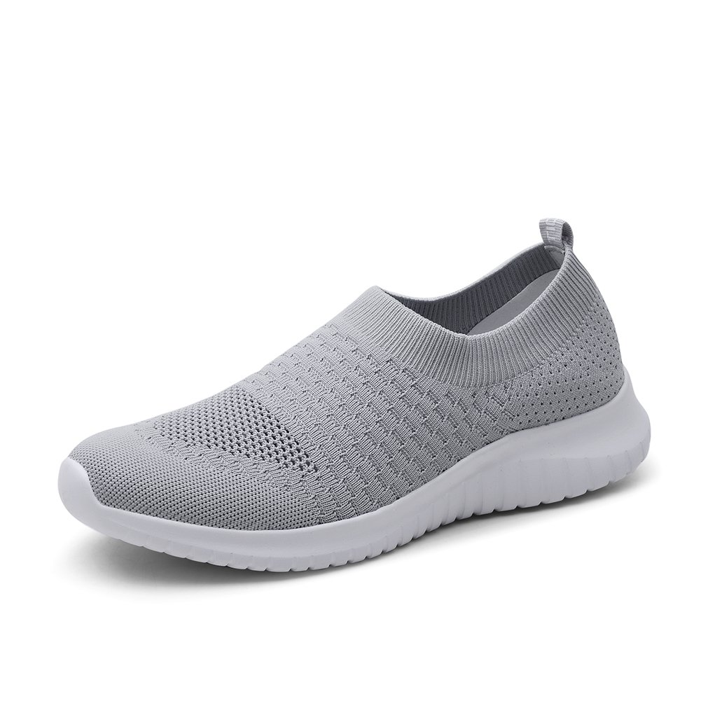 KONHILL Women's Lightweight Walking Shoes - Athletic Breathable Mesh Running Slip-on Sneakers, L.Gray, 38