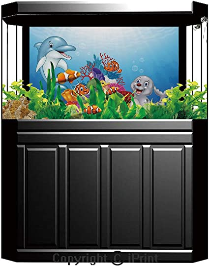 Puffer Fish Fabric Cartoon Ocean Multi Color Blue Background Sea Marine