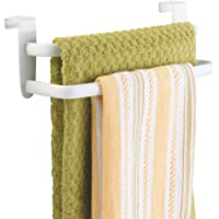 """mDesign Modern Kitchen Over Cabinet Strong Steel Double Towel Bar Rack - Hang on Inside or Outside of Doors, Storage and Organization for Hand, Dish, Tea Towels - 9.75"""" Wide"""