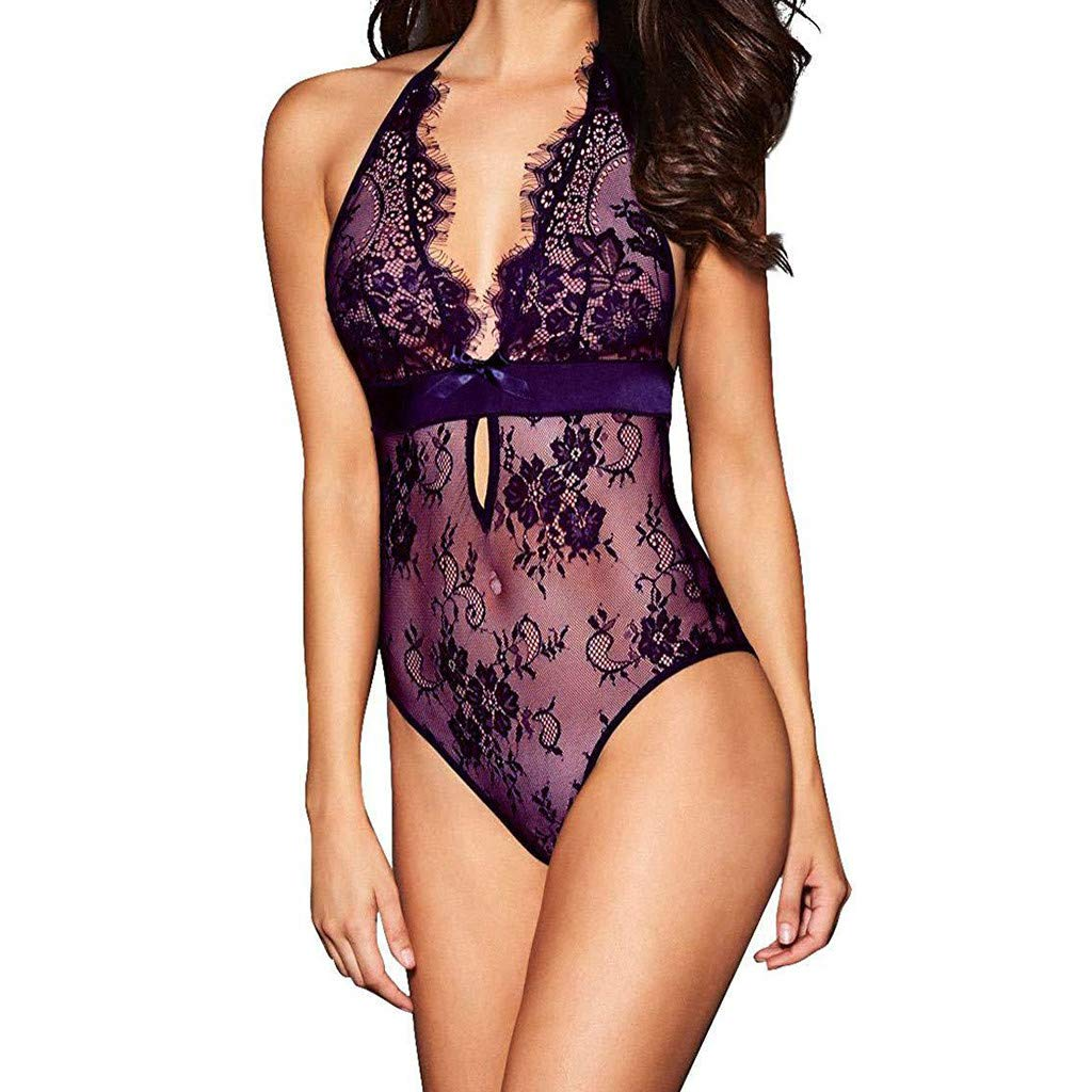 Fudule Sexy Lingerie for Women for Sex Backless Lace Teddy Babydoll Bodysuit Sleepwear for Women Underwear Pajamas Purple