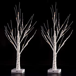 Sunnyglade 2PCS 2Ft 24 LED Birch Tree Light Fairy Tree Bonsai Tree Light Warm White for Home Wedding Festival Party Christmas Decoration