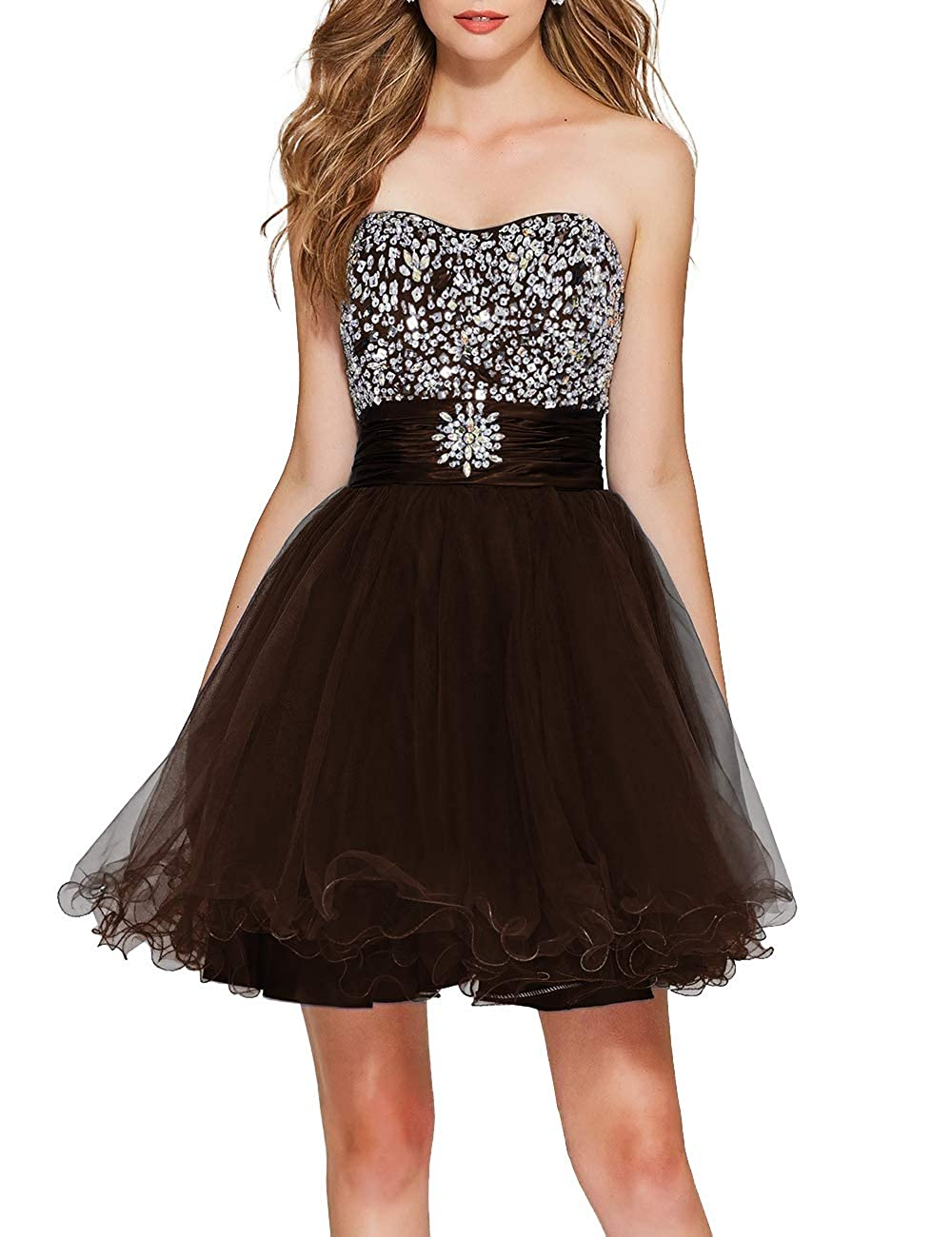 Chocolate Uther Girls Sweetheart Bridesmaid Dresses Beaded Homecoming Dress Short Prom Gown