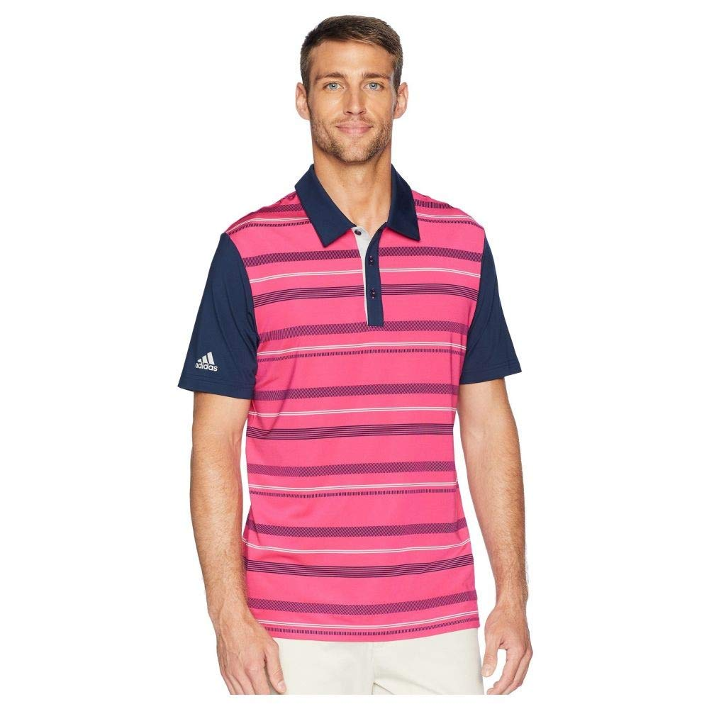 adidas Golf (アディダス) メンズ トップス ポロシャツ Ultimate Novelty Stripe Polo Real Magenta サイズLG [並行輸入品]   B07NV8M6DR