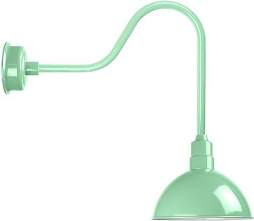 Cocoweb Blackspot Gooseneck Farm House Light Sconce – 14 Shade, Jade Finish, 1600 Lumen LED Lighting, Indoor Outdoor Installation – BBSW14JA-24J