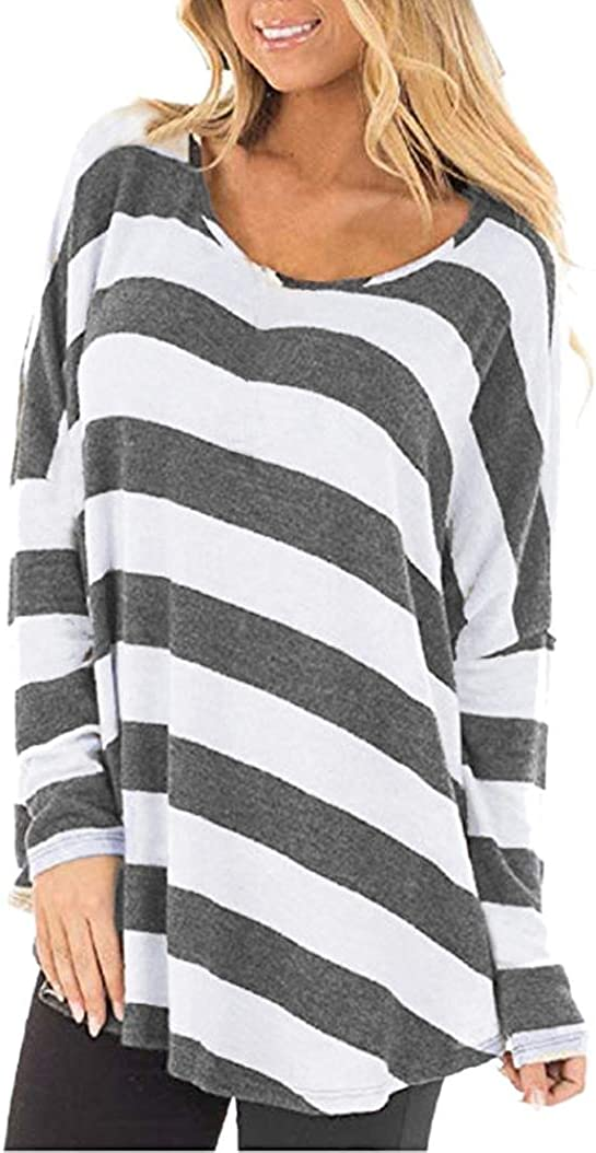 NREALY Womens Blouse Long Sleeve Striped Crop Top Tee T Shirts Hoodie Tunic