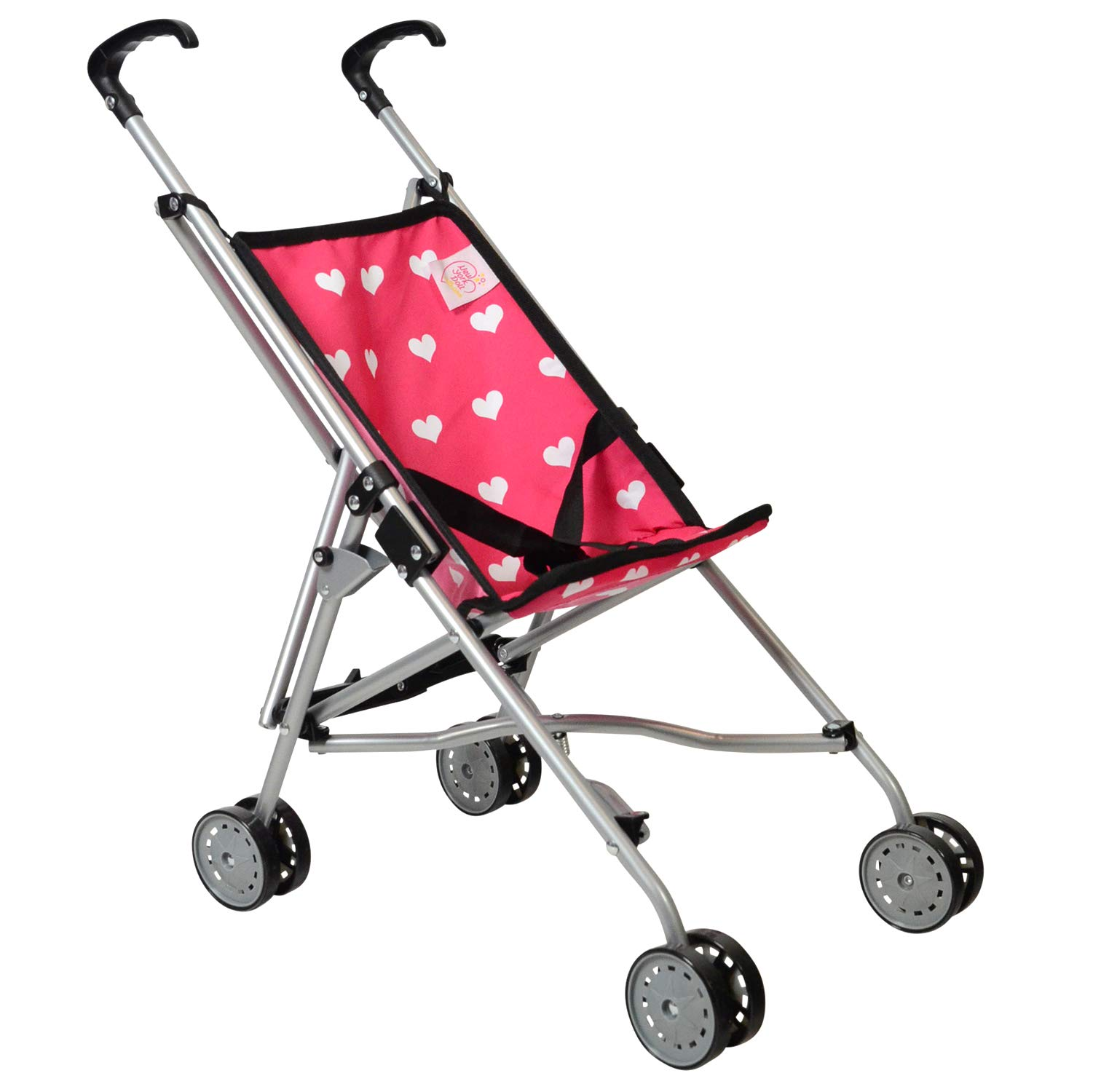 Hearts My First Doll Stroller for Kids - Super Cute Doll Stroller for Girls - Doll Stroller Folds for Storage - Great Gift for Toddlers by The New York Doll Collection