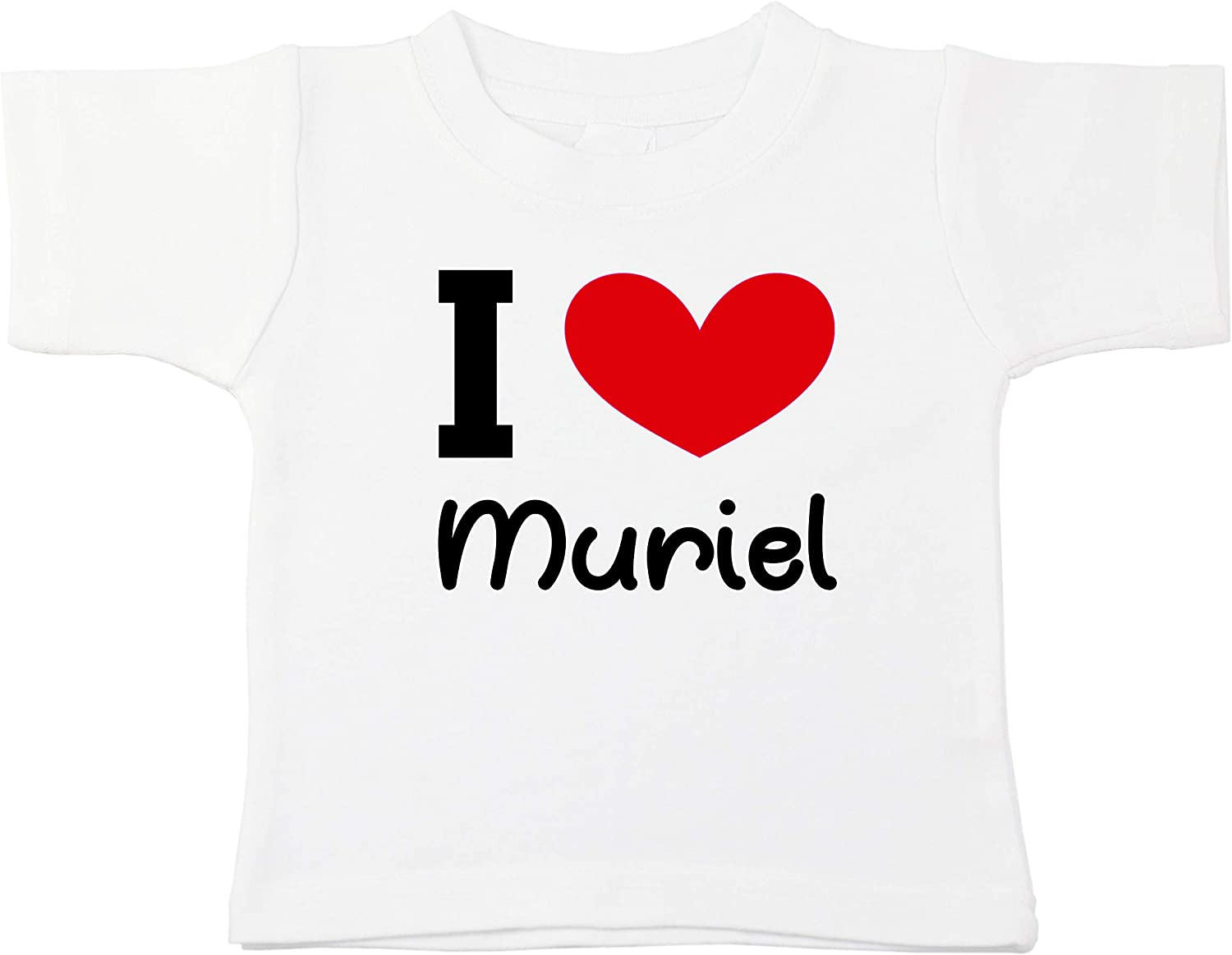 Kinacle I Love Muriel Personalized Baby//Toddler T-Shirt