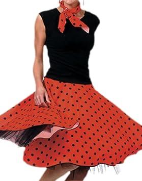 Rock/'n/'Roll Rock rot Petticoat Rock n Roll Damen Kostüm Fasching Karneval Neu