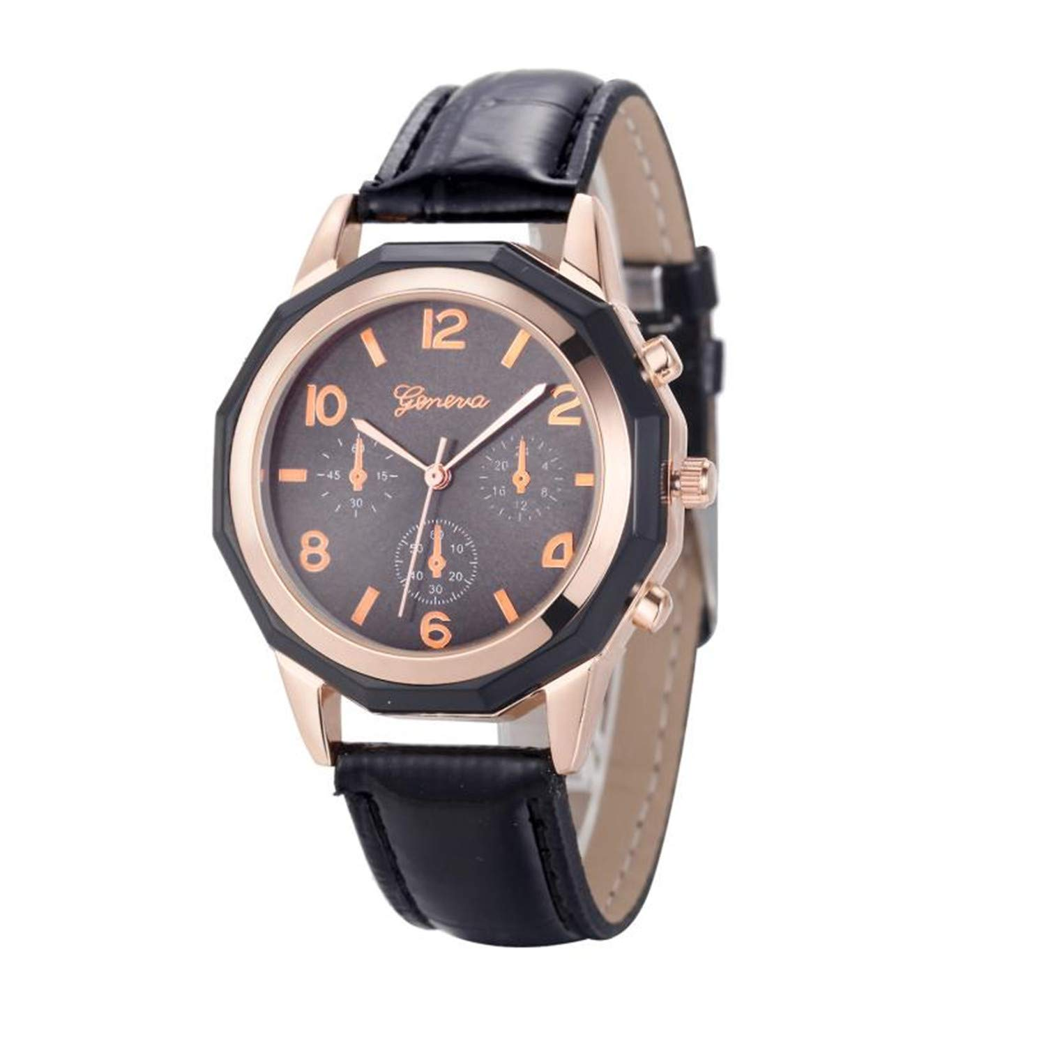 Amazon.com : sportsmanship Geneva Women Girl Roman Numerals Leather Quartz Wrist Watch Bracelet reloj Mujer Pulsera Ladies Watch(Black, ...