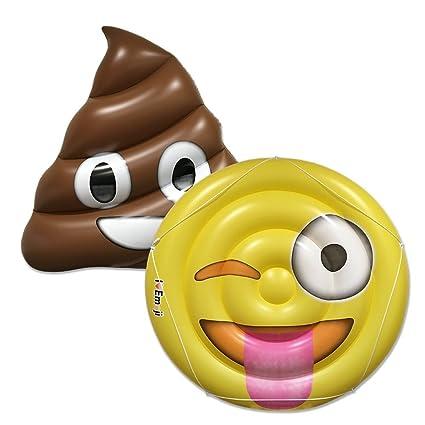 Amazon.com: Emoji piscina flotador café Poo Wink de lengua y ...