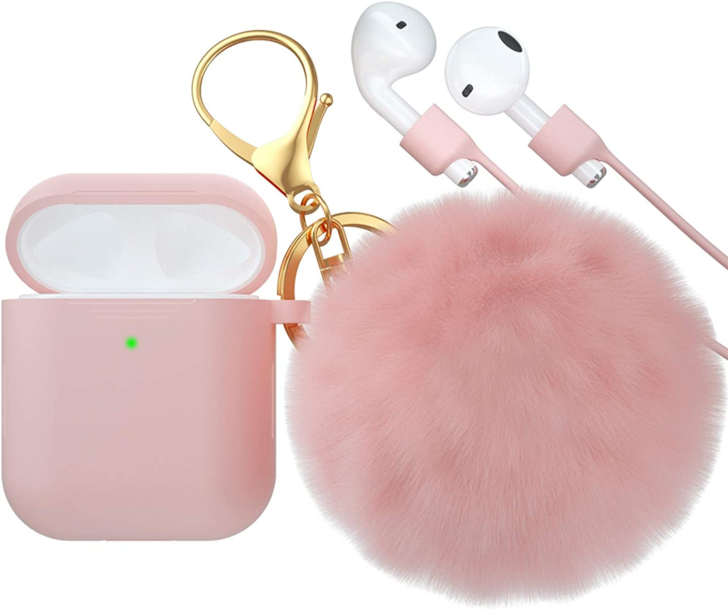 CTYBB for Airpod Case,Silicone Airpods Case Cover with Fur Ball Keychain Compatible with Apple Airpods 2/1 (Front LED Visible)