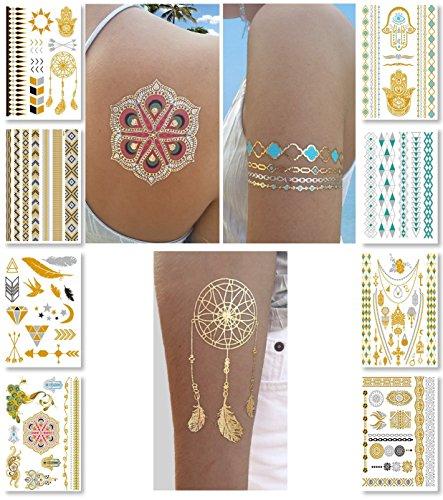 Gechiqno Metallic Temporary Tattoos - Gold Silver Glitter Shimmer Designs Jewelry Tattoos - 100+ Color Flash Fake Waterproof Tattoo Stickers (8 Gold)