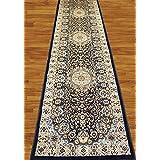 Homemusthaves Navy Blue 2.7X12 Feet Persian Traditional Modern Pattern Polyester Wool Long Runner Rug Carpet