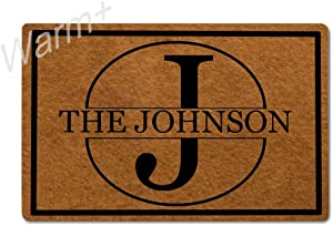 Warm+ Personalized Monogrammed Doormat Custom Last Name Door Mat with Rubber Backing Home Decor Indoor Mats for Entry Front Floor Mats 23.6 x 15.7 Inches - J