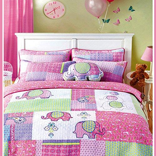 Cusphorn 2-Piece Pink Elephant Quilt Set Girls Coverlet Set(1 coverlet + 1 Pillow Sham) Kids Bedding Set Twin Size by Cusphorn