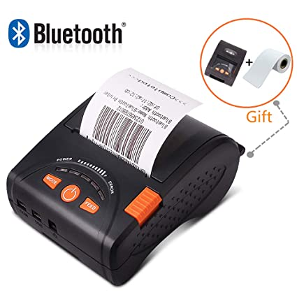 MUNBYN Portable Mobile 58mm Bluetooth Thermal Printer High Speed Direct  Mini Printer with Leather Case, Compatible with Android iOS Windows Systems