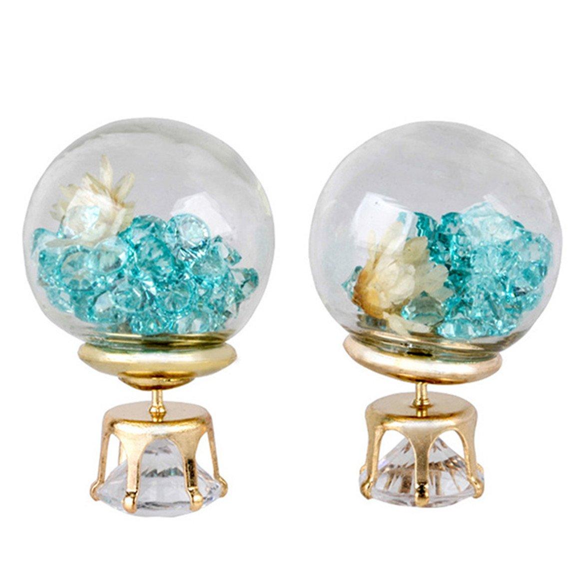Meolin Glass Ball Broken Drill Dry Flower Earrings Personality Double-sided Spherical Earrings Beautiful Jewelry