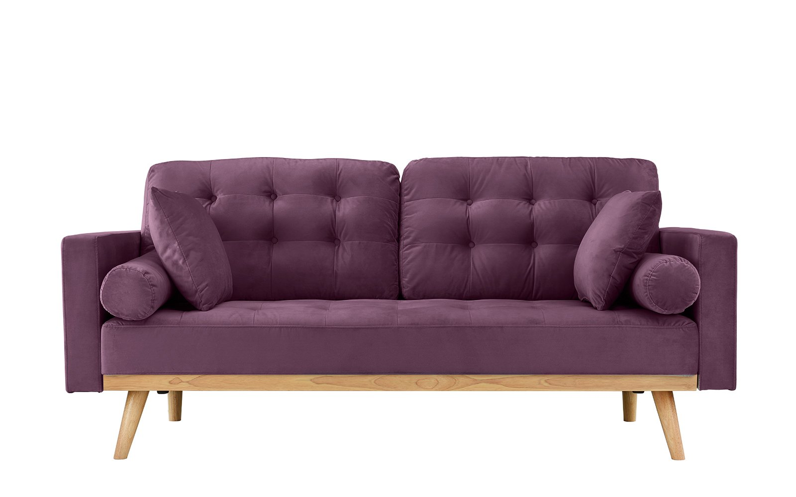 Mid-Century Modern Tufted Velvet Fabric Sofa (Purple) - Modern mid century sofa in various colors - Includes 2 bolster side pillows and 2 square pillows in the same fabric Soft hand picked velvet fabric in tufted button design for a touch of sophistication while still giving your living room a modern feel Super comfortable and stylish - this sofa is perfect for a small space and the colors available are sure to fit your home decor. - sofas-couches, living-room-furniture, living-room - 61rrqoZAYVL -
