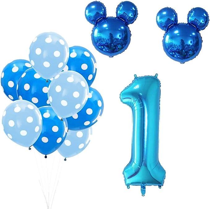 Globos Numeros 1 Decoracion Azul Decoraci/ón de cumplea/ños para ni/ños de 1 a/ño Cumplea/ños 1 A/ño Bebe Ni/ño sancuanyi 1er Cumplea/ños Bebe Globos Decoracion